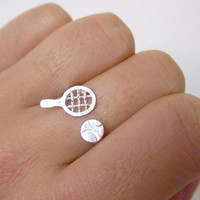 Tennis Racket & Tennis Ball Silver Ring - Handmade silver ring for Sport lovers