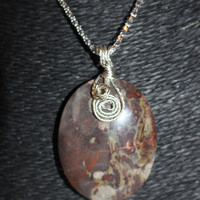 Silver Wire-Wrapped Jasper Oval Agate Pendant