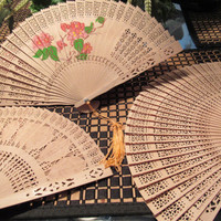 Vintage Chinese Wooden Fans / Asian Decorative Accessories Folding Hand Fan / Set of 3 Hand Fans