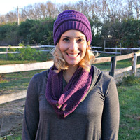 Open Knit Scarf Eggplant