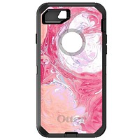 DistinctInk™ OtterBox Defender Series Case for Apple iPhone / Samsung Galaxy / Google Pixel - Hot Pink Blue White Marble