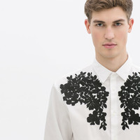 POPLIN SHIRT WITH FLORAL EMBROIDERY