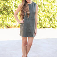 Sleeveless Suede Shift Dress - Olive