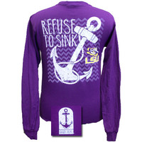 Louisiana State LSU Tigers Chevron Anchor Refuse To Sink Girlie Long Sleeves T Shirt