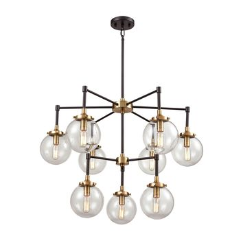 Boudreaux 9-Light Chandelier in Matte Black and Antique Gold with Sphere-shaped Glass