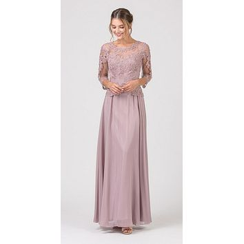 CLEARANCE - Mocha Appliqued Long Formal Dress Mid-Length Sleeves (Size XL)