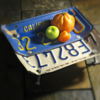 """Vintage Upcycled California License Plate Bowl """"California Dreamin"""""""
