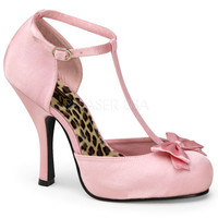 Pinup Couture Pink Satin T-strap D'orsay Pump