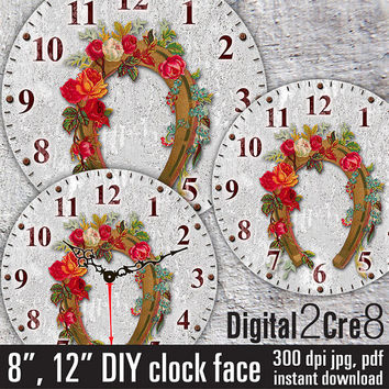 "Vintage horseshoe style Clock Face - 12"" and 8"" Digital Downloads - DIY - Printable Image - Iron On Transfer - Wall Decor - Crafts - jpg+pdf"