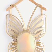 Butterfly Shaped Metallic PU Backpack