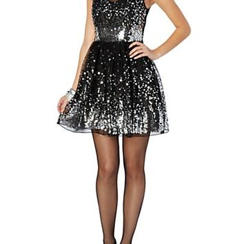 Waterfall Sequined Illusion Party Dress
