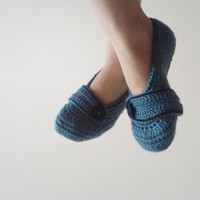Crochet Home Slippers / Blue and black slippers  / Unisex Slippers Mary jane desing / Slippers for Men and Women / Christmast gifts