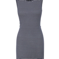 LE3NO Womens Striped Cut Out Back Tank Dress Cover Up (CLEARANCE)