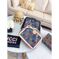 GUCCI New fashion multicolor more letter print leather shoulder bag crossbody bag handbag Black