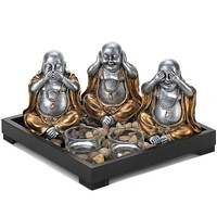 See, Hear, Speak No Evil Buddha Candle Tray