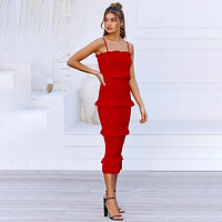 Fashion Sling Long Dress Women Casual Party Dress Female Ruffles Vestidos Natural Solid Dress