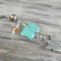 Arrowhead Belly Ring, Zuni Bear Belly Button Ring, Tuquoise Magnesite Belly Piercing, Birthstone Personalized, Native American Jewelry,