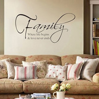 "Hot ""Family Where Life Begins Love"" DIY Art Wall Stickers Quote Decal Home Decor = 1706052420"