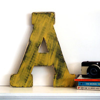 Capital Letter A (Pictured in Mustard) Pine Wood Sign Wall Decor Rustic Americana French Country Chic