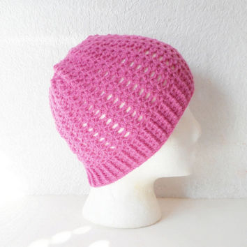 Lacy Pink Skullcap Beanie Hat, ready to ship.