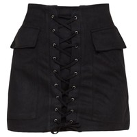 Ziva Black Faux Suede Lace Up Mini Skirt