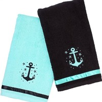 """Anchor"" Bathroom Towel Set by Sourpuss Clothing (Black/Blue)"