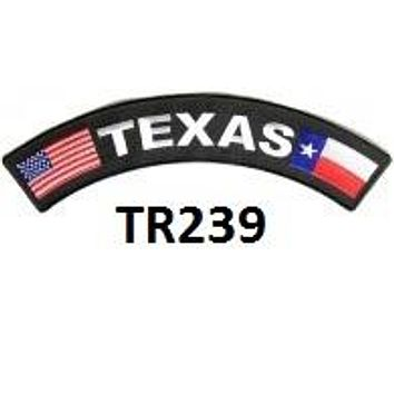 Texas USA State Flag White on Black Iron on Top Rocker Patch for Biker Vest Jacket