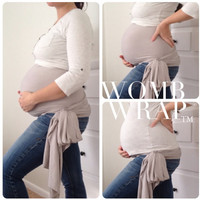 Twin Pregnancy Maternity WOMB WRAP Belly Support Belt Band Sash Bamboo Stretch Neutral / Greige