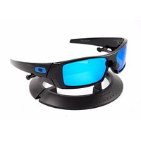 OAKLEY GASCAN BLACK *BLUE ICONS* FRAME / REVANT ICE BLUE POLARIZED CUSTOM LENSES