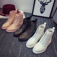 Women Casual Fashion Round-toe Strappy Sequin Martin Boots High Help Leather Boots Shoes