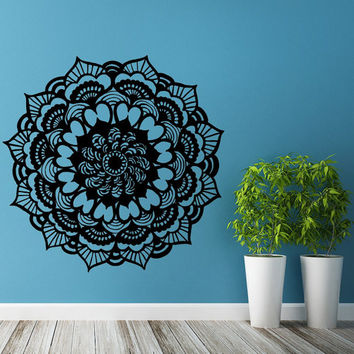 Mandala Wall Decal Yoga Studio Vinyl Sticker Decals Ornament Moroccan Pattern Namaste Lotus Flower Home Decor Boho Bohemian Bedroom Art T109