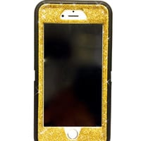iPhone 6 Plus OtterBox Defender Series Case Glitter Cute Sparkly Bling Defender Series Custom Case  black / yellow gold