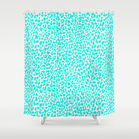 Turquoise Leopard Shower Curtain by M Studio
