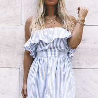 Tell Me When Off The Shoulder Blue Striped Dress