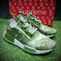 ONETOW Best Online Sale Louis Vuitton LV x Supreme x Adidas Customise NMD R1 Boost Men R_1 Green  White Sport Running Shoes BA7789