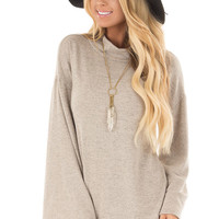 Taupe Soft Top with High Neckline and Trumpet Sleeves
