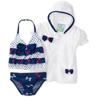 Baby Bunz Girls' Baby Bows Swimsuit With Terry Cover Up