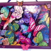 Upcycled Butterfly Bow, jewelry, and photo organizer holder bulletin board in purple, turquoise, pink, lime green, orange, blue, fuchsia