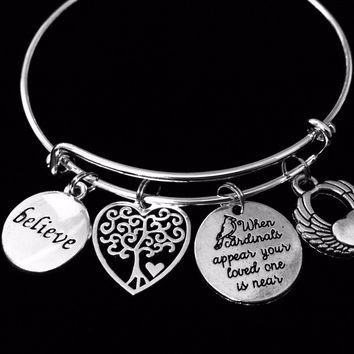 Believe When Cardinals Appear Your Loved One is Near Expandable Charm Bracelet Adjustable Silver Bangle Memorial Jewelry One Size Fits All Gift Tree of Live Angel Wing Heart