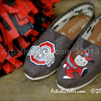 University Custom Painted TOMS Shoes - Ohio State