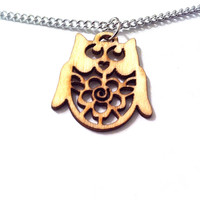 Little wooden laser cut owl necklace pyrography necklace woodland jewelry