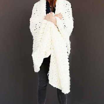 Chunky Hand Knit Blanket Scarf- Ivory One