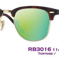 Cheap Authentic RayBan Clubmaster Flash RB3016 114519 Size51 Tortoise/Green Flash $175 outlet