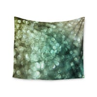 "Debbra Obertanec ""Teal Sparkle"" Green Glitter Wall Tapestry"