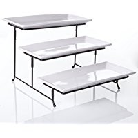"3 Tier Collapsible Thicker Sturdier Plate Rack Stand With Plates - Three Tiered Cake Serving Tray - Dessert Fruit Presentation - Party Food Server Display Set - 3 White 12' x 6"" Porcelain Plates Incl."