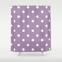 Polka Dot Shower Curtain - Purple and White Shower Curtain - Bathroom Decor - Made to Order