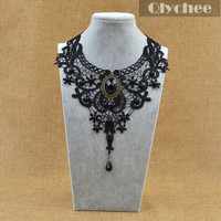 Black Lace & Beads Choker Victorian Gothic Collar Necklace