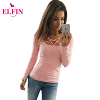 Autumn T Shirt Women Long Sleeve Slim Fit Fashion Ladies Top Hollow Out Tops Tee Solid LJ4515R