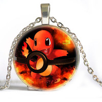 11 style My Order Pokemon Pendant Glass Jewelry Eevee Pokeball Necklace Christmas gift Necklace Body Chain Free Shipping