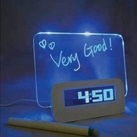 Message Board Digital Alarm Clock with LCD Calendar 4 Port USB Hub (White)